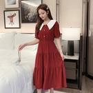 法式洋裝 夏天女氣質長款雪紡連身裙法式 顯瘦娃娃領溫柔風裙子-Ballet朵朵