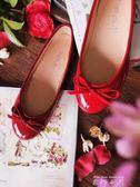 嗆口小辣椒小紅鞋圓頭平底鞋蝴蝶結芭蕾舞鞋女單鞋婚鞋娃娃鞋   米娜小鋪
