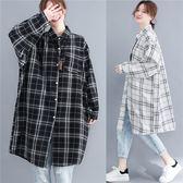棉麻 文青風格子長版襯衫薄外套-大尺碼 獨具衣格