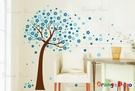 壁貼【橘果設計】花樹(藍) DIY組合壁...