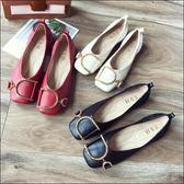 六月芬蘭方頭D字金屬扣鬆緊娃娃鞋平底鞋包鞋女鞋黑色紅色米白色(35-41大尺碼)現貨