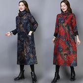 [767] 現貨毛呢長裙秋冬復古文藝大碼寬松印花加絨加厚連身裙ZM-2F-B053衣人有約