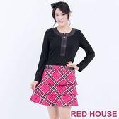 【RED HOUSE-蕾赫斯】星星拉鍊假格紋洋裝(桃紅色) 冬季最後出清