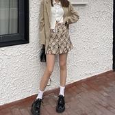 褲裙 百褶裙女高腰包臀小短裙春夏復古英倫格子jk裙半身裙褲甜酷風裙子 美物