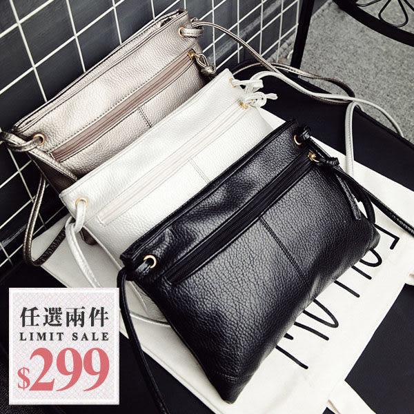 萬用肩揹包-韓國新款簡約風水洗金屬感雙層拉鍊肩揹包斜背包【AN SHOP】