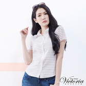 Victoria 襯衫領縫寶石透視布短袖襯衫-女-白色-V7507080