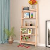 簡易書架落地五層置物架梯形創意簡約客廳實木臥室多層收納架展示架子 js8146『小美日記』