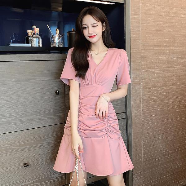 韓風褶皺裙氣質荷葉邊短袖洋裝
