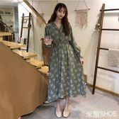 大碼洋裝 女裝新款顯瘦胖mm中長款V領碎花連身裙洋氣減齡裙子