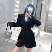 春秋季性感氣質露腰西裝洋裝2020新款設計感炸街長袖黑色裙子女-米蘭街頭