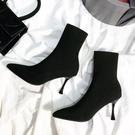 彈力襪子靴女高跟鞋 靴子針織襪靴瘦瘦靴細...