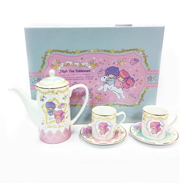 【震撼精品百貨】Little Twin Stars KiKi&LaLa 雙子星小天使~ 西式茶具套裝(茶壺×1 杯×2 碟×2) 香港授權