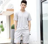 男士運動套裝  晨跑步服運動衣服裝休閒短袖五分短褲健身兩件套  歐韓流行館
