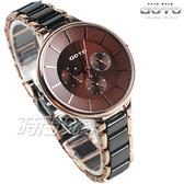 GOTO 陶瓷美型 三眼錶 時尚 多功能手錶 手環錶 玫瑰金電鍍x陶瓷黑 女錶 GS0097B-43-C41