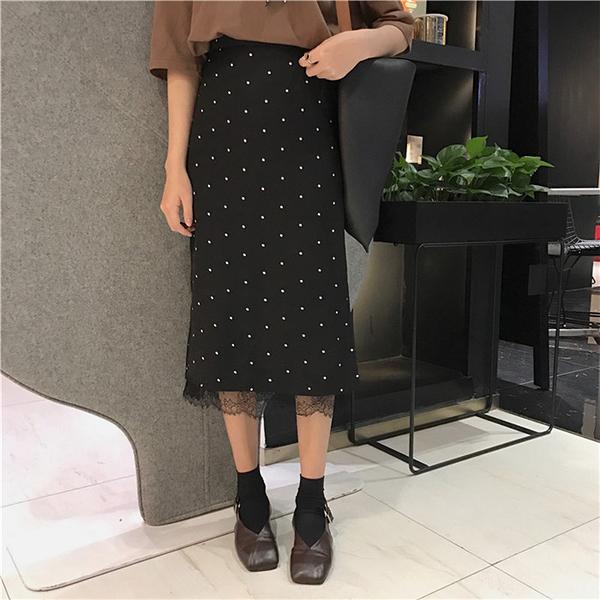 [超豐國際]春夏女裝復古港味黑色波點半身裙高腰顯瘦百度蕾絲拼1入