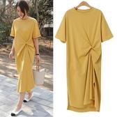 2020流行裙子大碼寬鬆顯瘦休閒洋裝時尚長款孕婦T恤裙夏 滿天星