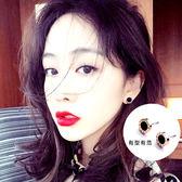 氣質簡約羅馬數字玫瑰金鈦鋼耳釘女韓國個性潮人防過敏黑圓圈耳環  無糖工作室