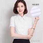 2020新款春夏季白色襯衫女短袖職業工作半袖正裝寬鬆工裝套裙套裝 韓語空間