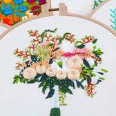 刺繡diy歐式花卉孕期古風線繡手工材料包 初學新手印花套件蘇繡  瑪奇哈朵