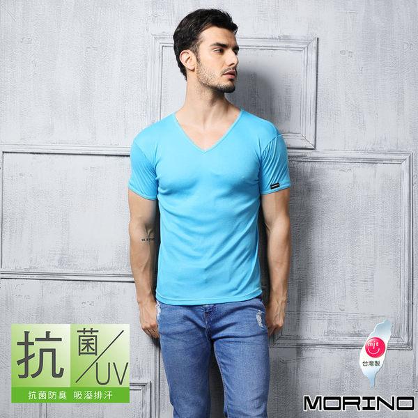 《MORINO》機能休閒抗菌防臭速乾短袖V領衫-水藍色