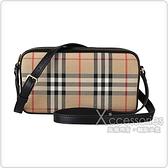 BURBERRY Vintage格紋帆布牛皮飾邊拉鍊斜背相機包(典藏米x黑)