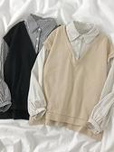 99免運 襯衫拼接假兩件衛衣秋季2021學院風寬鬆顯瘦條紋長袖襯衣女裝上衣 【寶貝計畫】