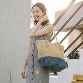 編織包 草編包沙灘包女大容量款清新簡約百搭手工編織海邊度假包