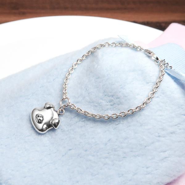 福氣小豬 親子兒童手鍊(細版) 925純銀客製化刻字手鍊 嬰幼兒彌月禮 親子銀飾