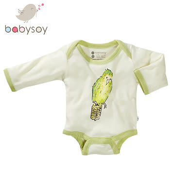 美國 Babysoy [Janey Baby]有機棉長袖包屁衣606-鸚鵡