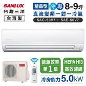 【台灣三洋】8-9坪變頻專冷一對一220V分離式精品型冷氣SAC-50V7/SAE-50V7含基本安裝/6期0利率)