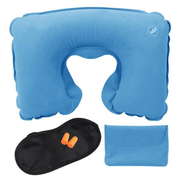 旅遊三寶 充氣枕+遮光眼罩+耳塞+收納袋/組 旅行必備 (不挑色)