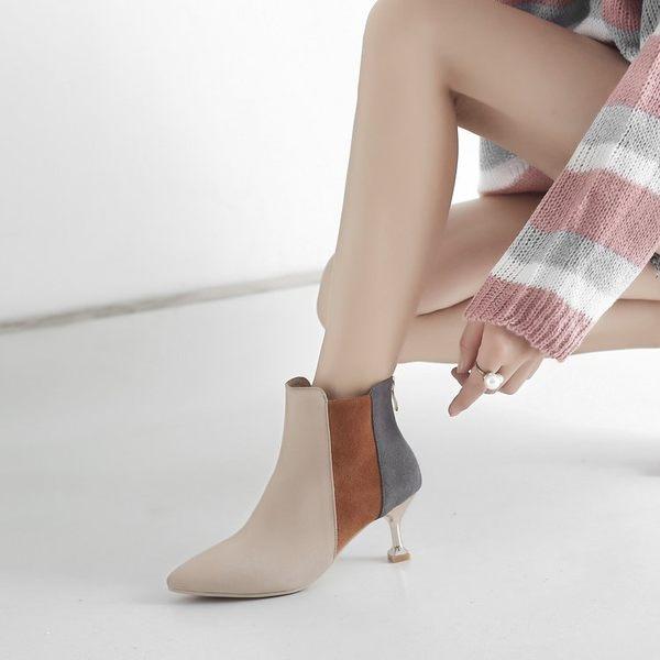 女鞋子秋季尖頭磨砂短筒靴子時尚拼色細跟高跟馬丁靴短靴 糖果時尚