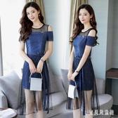 牛仔連身裙 2019新款韓版時尚氣質小香風一字領中長款裙子女  YN683『寶貝兒童裝』