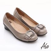 A.S.O 舒適通勤 真皮鉚釘皮帶飾扣奈米楔型跟鞋 卡其