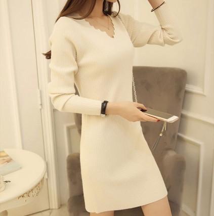 EASON SHOP(GU9282)韓版純色鋸齒波浪剪裁V領長袖坑條紋針織連身裙洋裝女上衣服彈力貼身包臀短裙