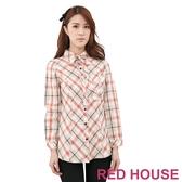 【RED HOUSE-蕾赫斯】長版格紋襯衫(卡其色)