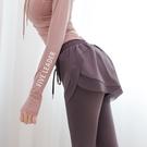 速乾運動褲 健身褲女假兩件跑步打底瑜伽褲運動彈力高腰提臀緊身顯瘦短褲