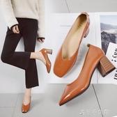 春季淺口高跟單鞋女復古粗跟鞋百搭女鞋方頭奶奶鞋女 千千女鞋