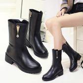 中年人婦女靴子秋冬季加絨中跟中筒馬靴 SS1235【3C環球數位館】