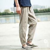 亞麻褲 - 純色薄款九分褲子9分束腳褲寬松棉麻料燈籠褲【韓衣舍】