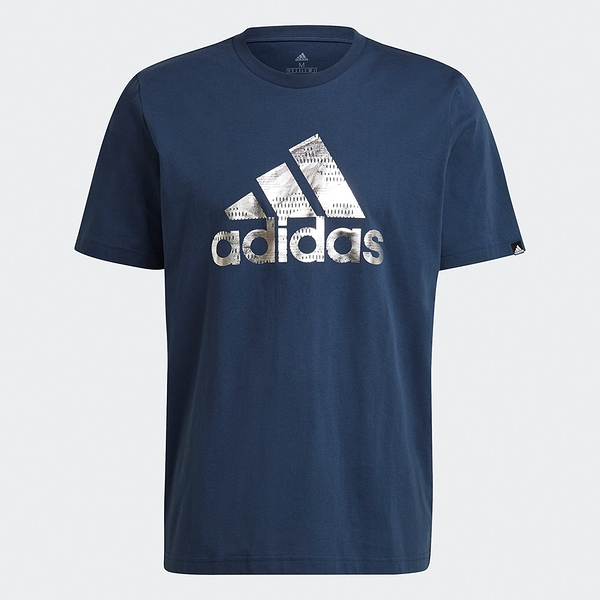 【現貨】Adidas FOIL LOGO GRAPHIC 男裝 短袖 T恤 休閒 燙銀LOGO 純棉 藍【運動世界】GL3704