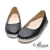 【Messa米莎專櫃女鞋】MIT-牛皮內增厚鞋墊縫線包鞋-黑色