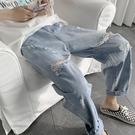 牛仔褲乞丐褲子男夏天ins薄款九分褲夏季破洞牛仔褲男新款寬鬆直筒 迷你屋