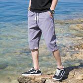 沙灘褲短褲男夏天七分褲男韓版潮流學生五分褲沙灘褲7分褲男寬鬆褲子男 曼莎時尚