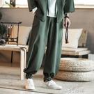 亞麻休閒長褲男中國風加肥加大碼寬鬆燈籠直筒褲復古風唐裝九分褲 3C優購