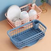 瀝水架 廚房置物架碗碟筷勺收納架濾水籃瀝水架塑料餐具收納盒收納筐碗櫃兩個裝