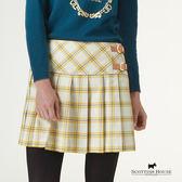 Scottish House 側邊皮釦裝飾格紋百褶裙 X2102
