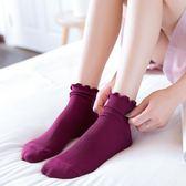 襪子女中筒襪夏季薄款木耳邊可愛花邊襪清新女中長襪學院風女棉襪【無趣工社】