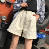 牛仔短褲女春夏2019新款韓版初戀褲女學生闊腿高腰顯瘦A字熱褲子【全館免運】