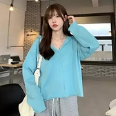 藍色素色連帽運動衫罩衫女裝設計感小眾春秋季2021新款網紅寬鬆韓版短款上衣服潮